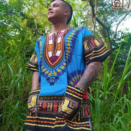 Camisa Africana azul claro